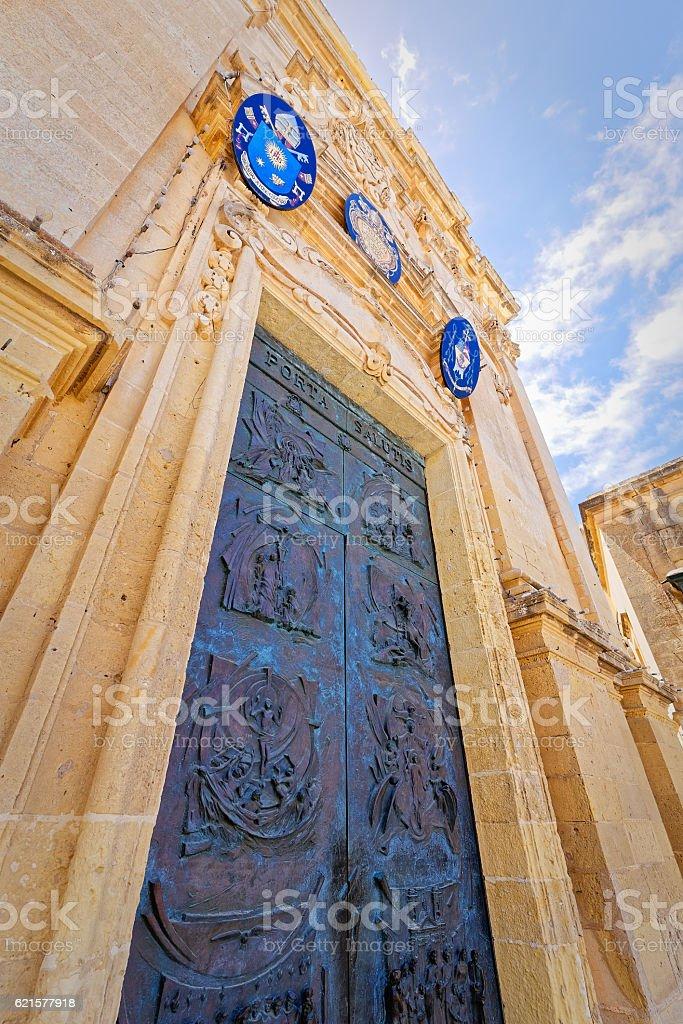 Access door to the basilica of St. George, Gozo, Malta stock photo