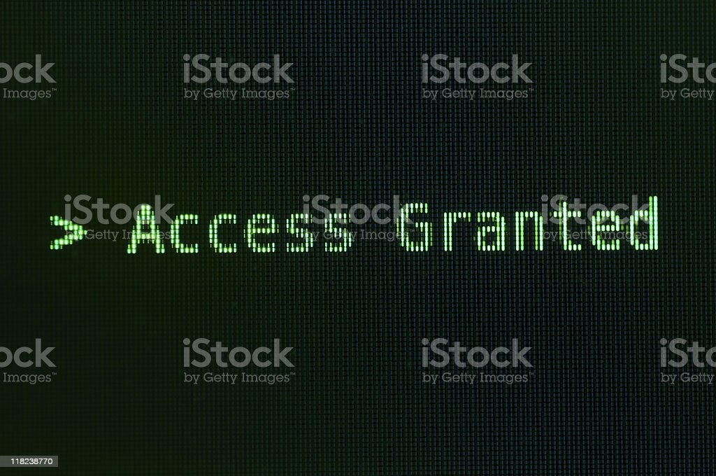 Access granted message in green royalty-free stock photo