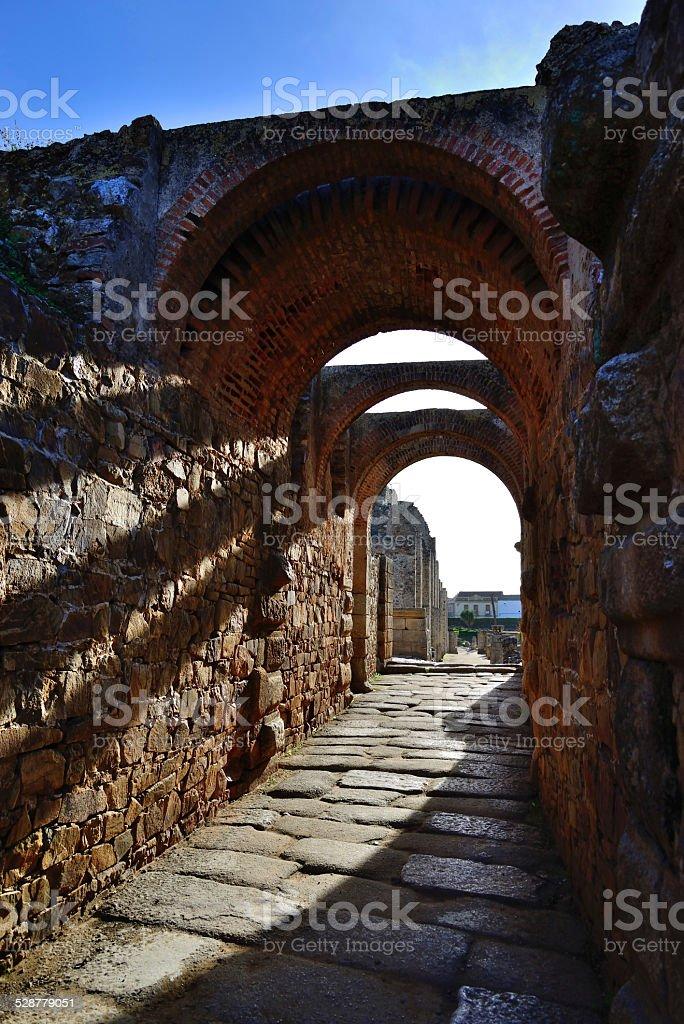 Access Hall amphitheater Roman theater in M?rida. stock photo
