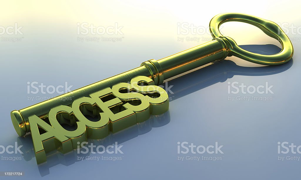 Access key concept with green key on blue background stock photo