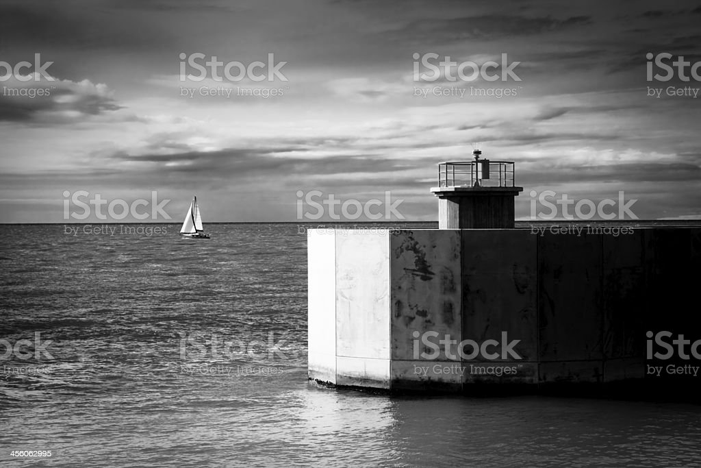 Access to a small harbor stock photo