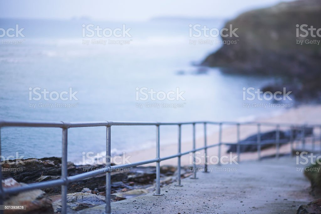Access walkway to Gwithian beach, Cornwall stock photo