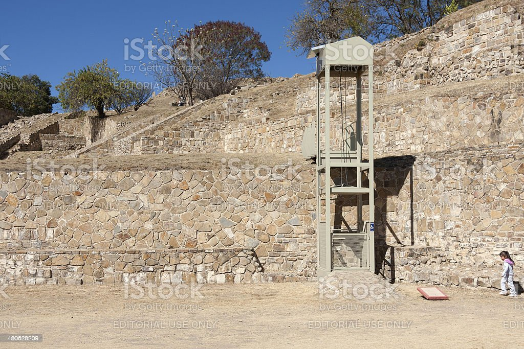 Accessibility at Monte Alban archeological site stock photo