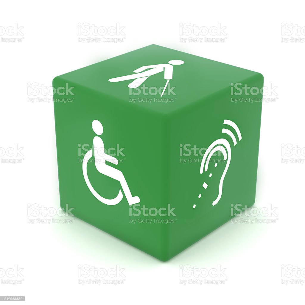 Accessibility computer icon cube stock photo