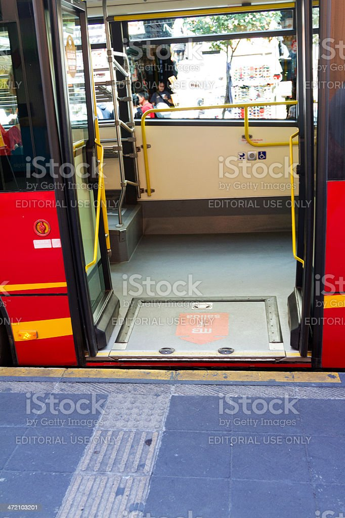 Accessible bus in Mexico City stock photo