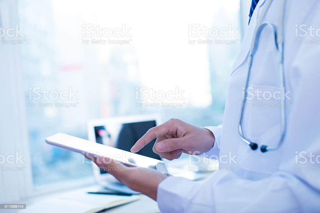 Accessing medical records stock photo