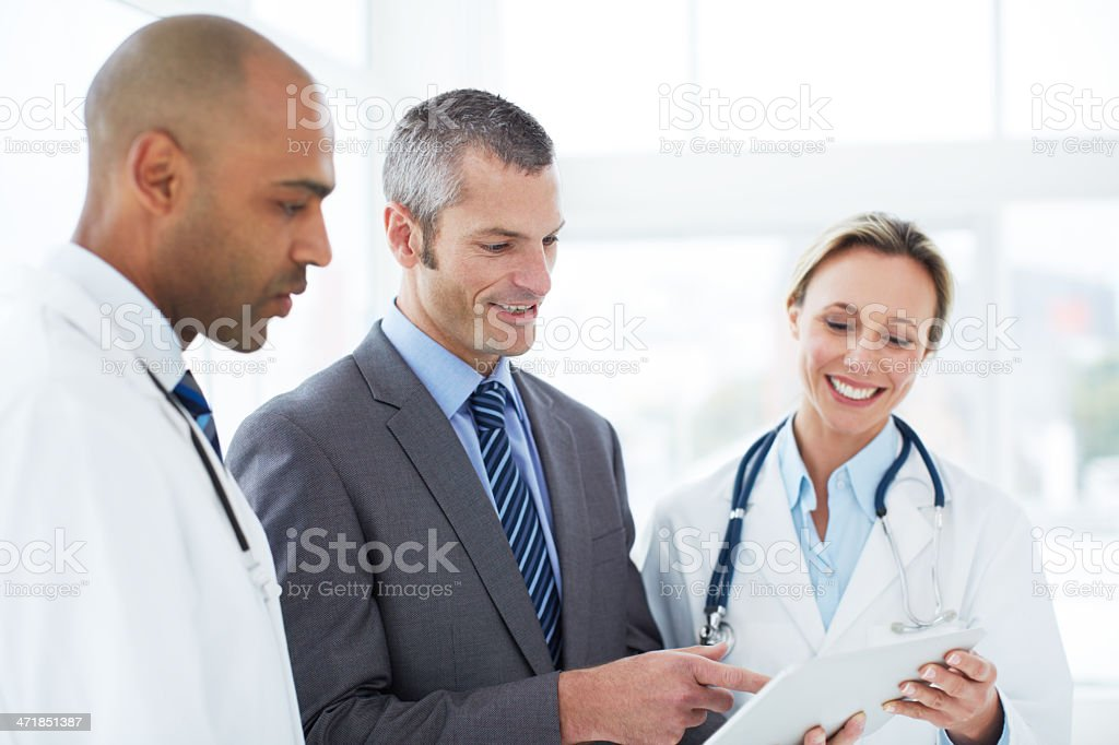 Accessing patient files with one touch stock photo