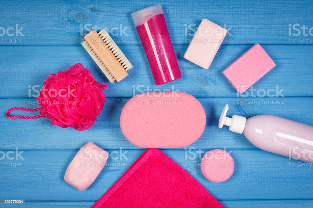 Accessories and cosmetics for personal hygiene in bathroom, body care stock photo