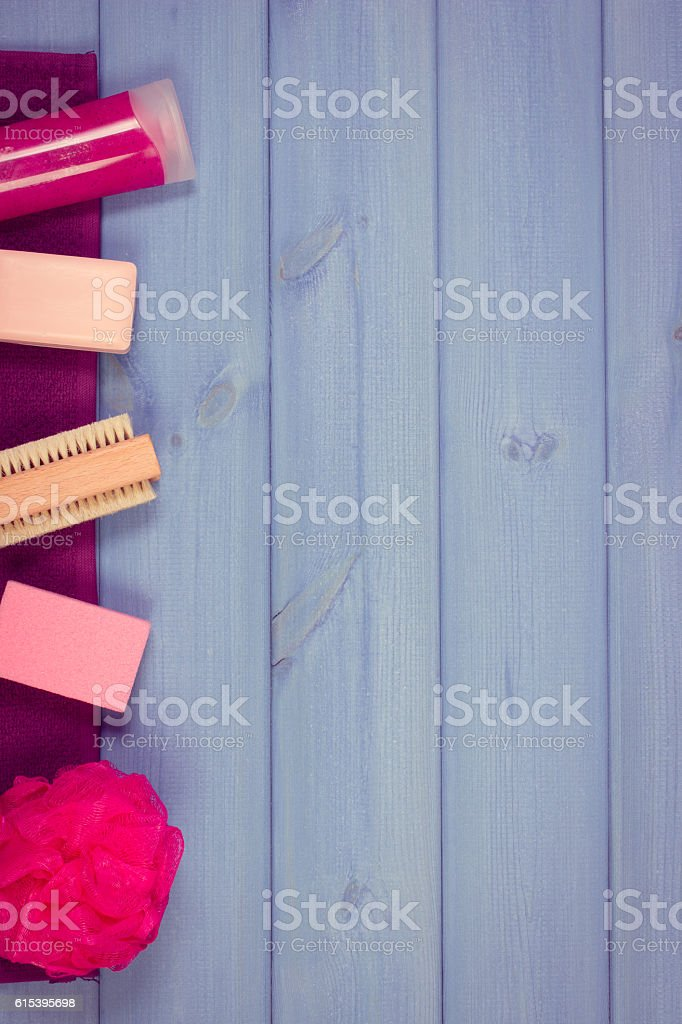 Accessories and cosmetics for personal hygiene in bathroom stock photo