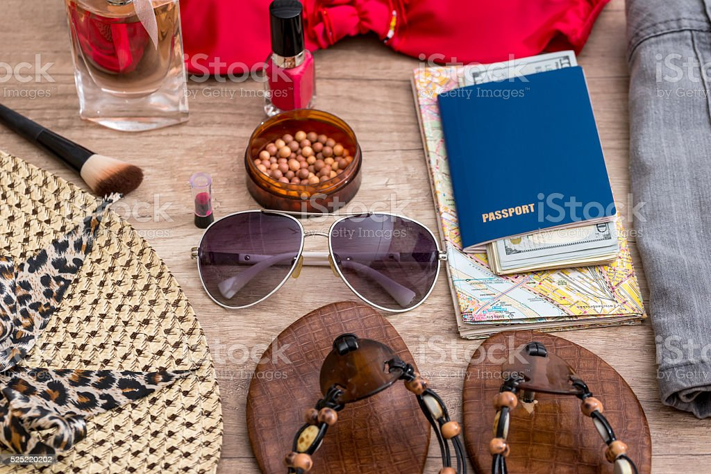 accessories for beach holidays stock photo