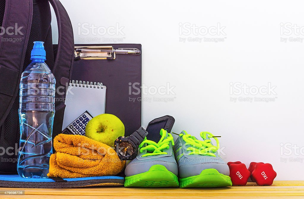 Accessories for fitness and sports in the gym stock photo