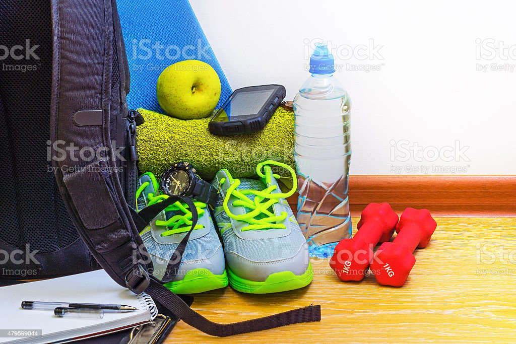 Accessories for fitness stock photo