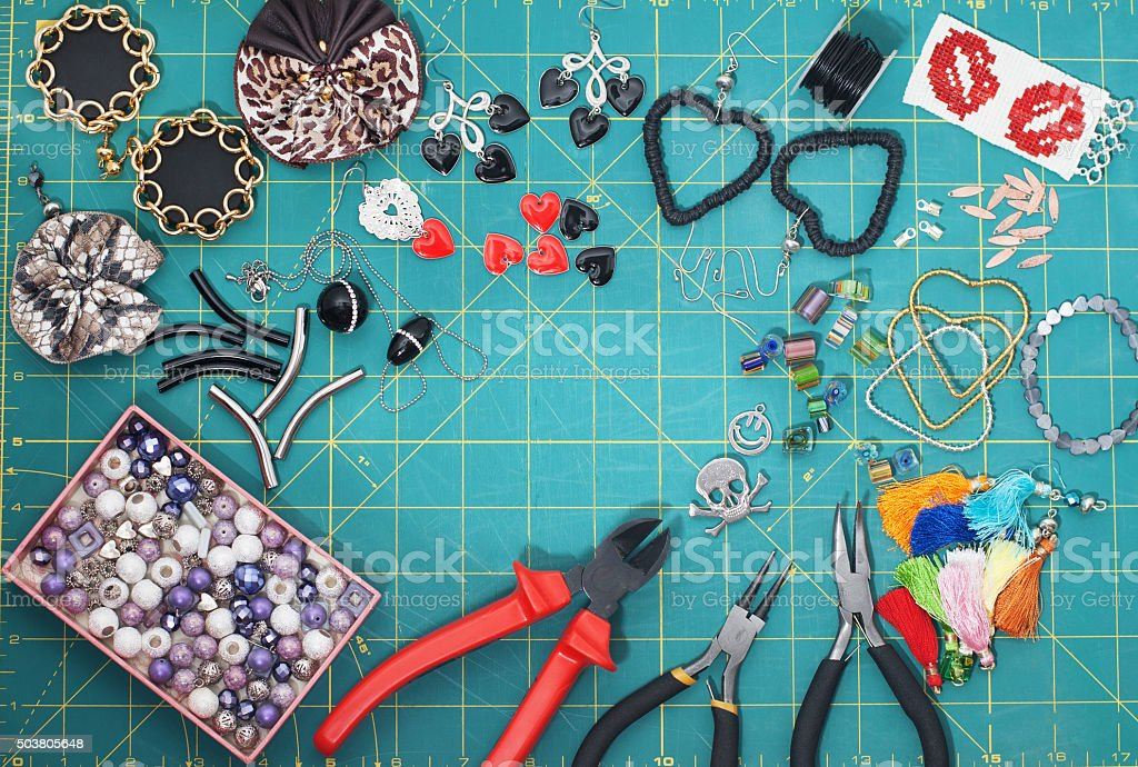 Accessories for hand made costume jewelry stock photo