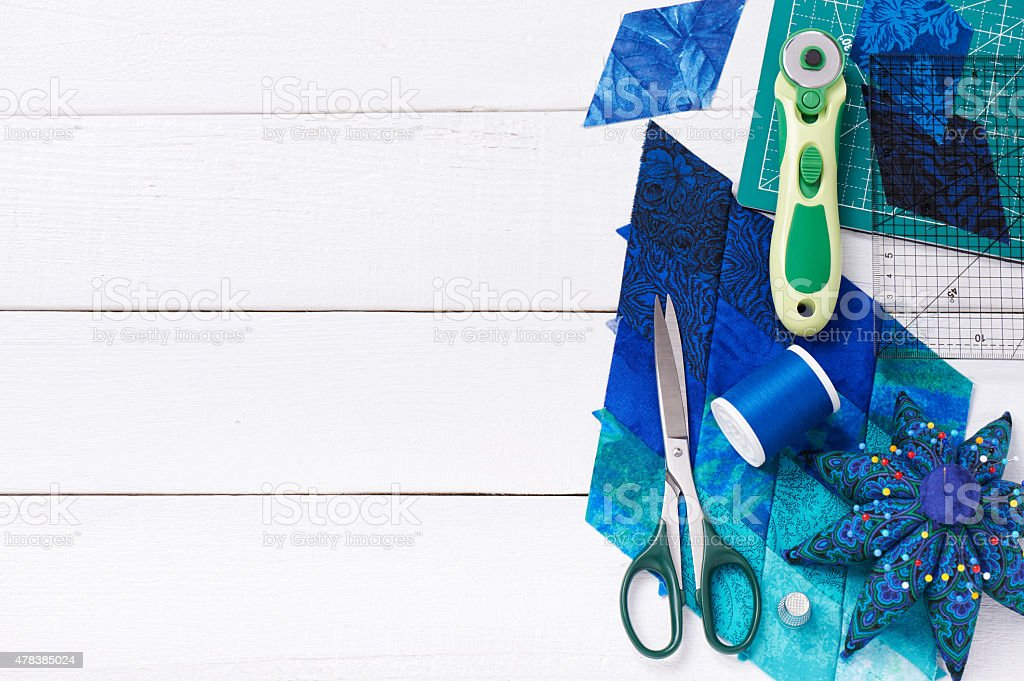 Accessories for patchwork top view stock photo