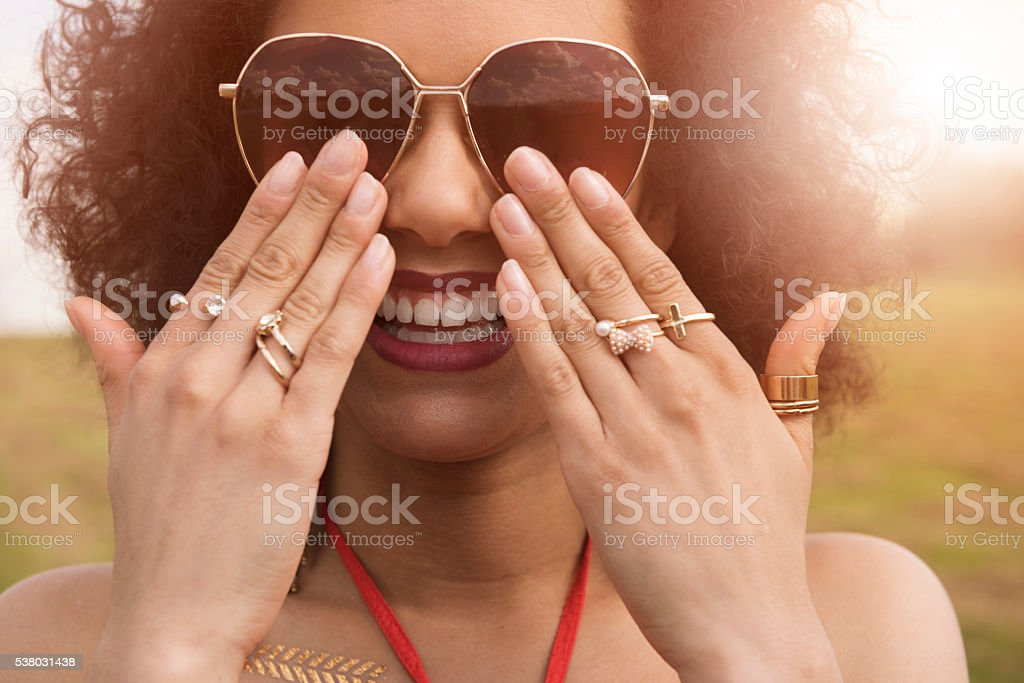 Accessories of african descent girl stock photo