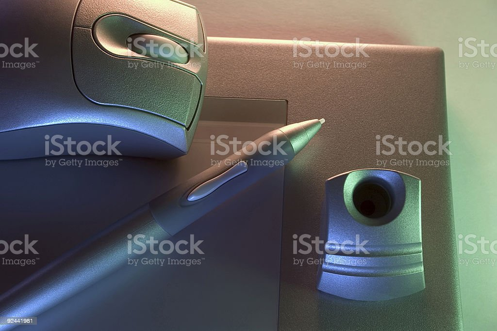 Accessories, Pen and Mouse royalty-free stock photo
