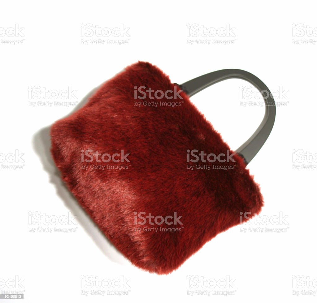 Accessories - red fur purse royalty-free stock photo