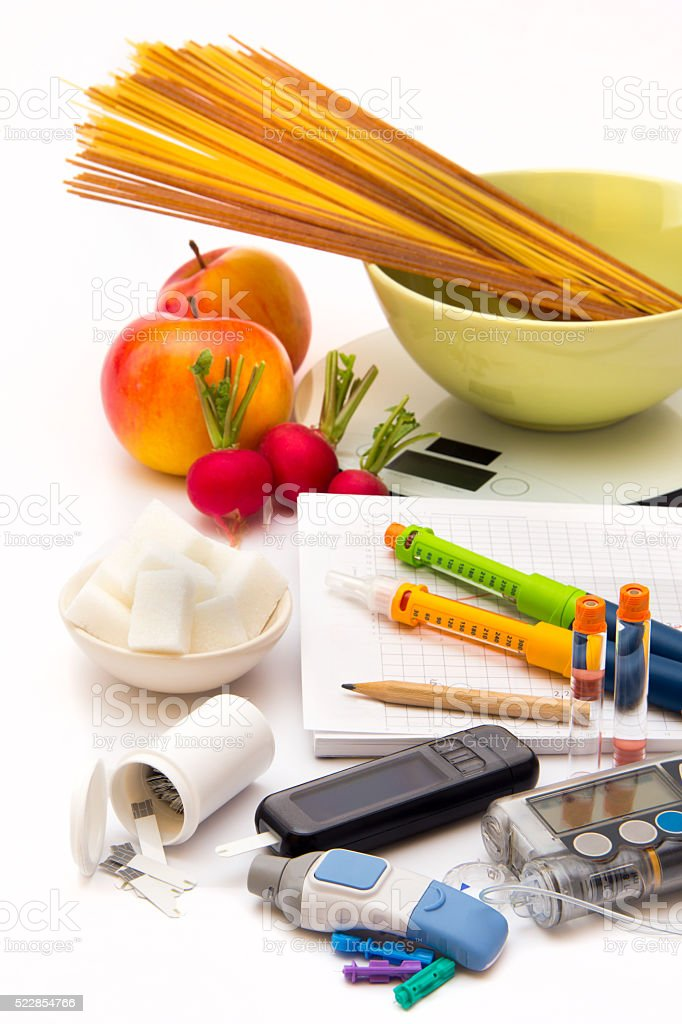 Accessories to control diabetes - vertical - Diabetes care stock photo