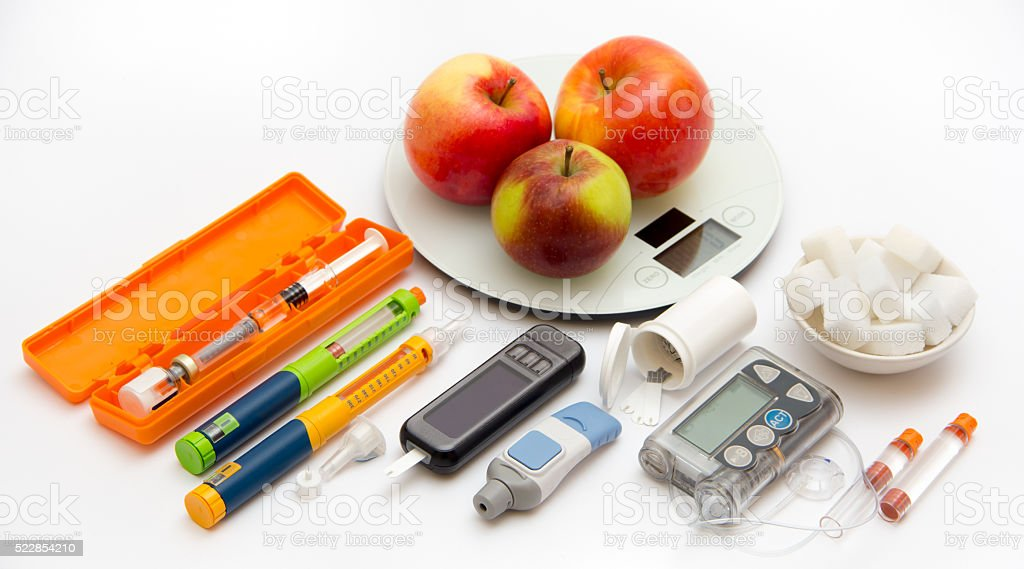 Accessories you need to control diabetes - patient's test set stock photo