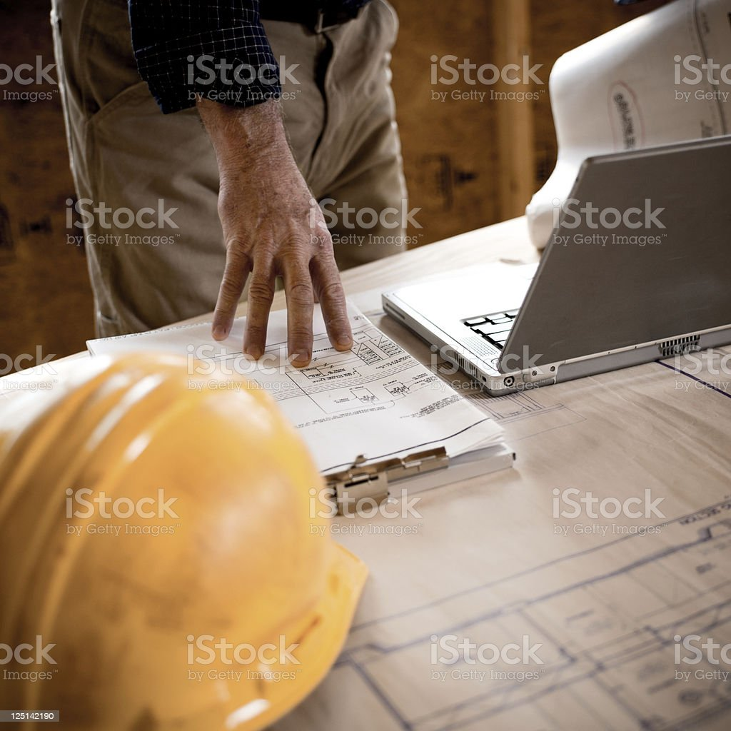 Acchitect and Blueprints stock photo