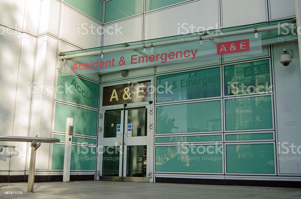 Pedestrian entrance to the Accident and Emergency Unit at University...