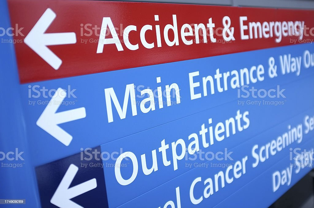 Accident and Emergency sign royalty-free stock photo