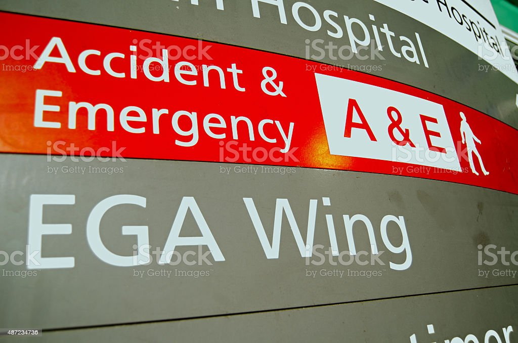 Accident and Emergency Sign stock photo