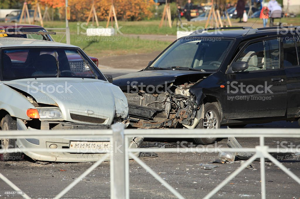 accident at crossroads stock photo