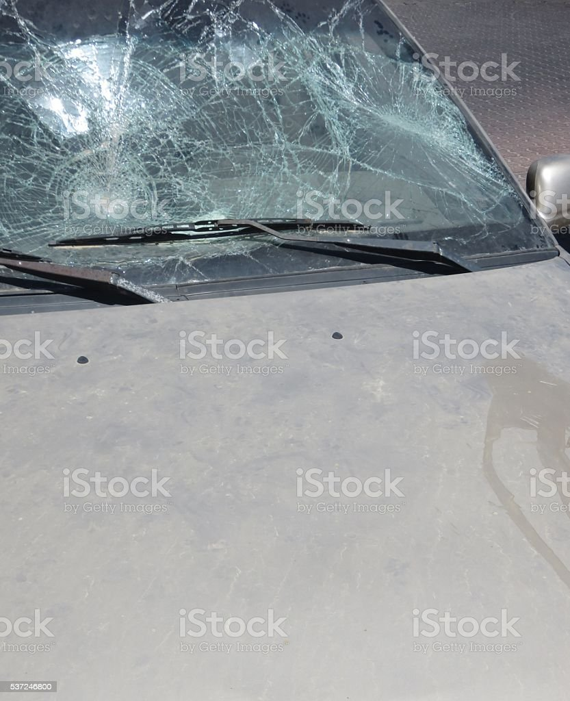Accident, broken glass stock photo