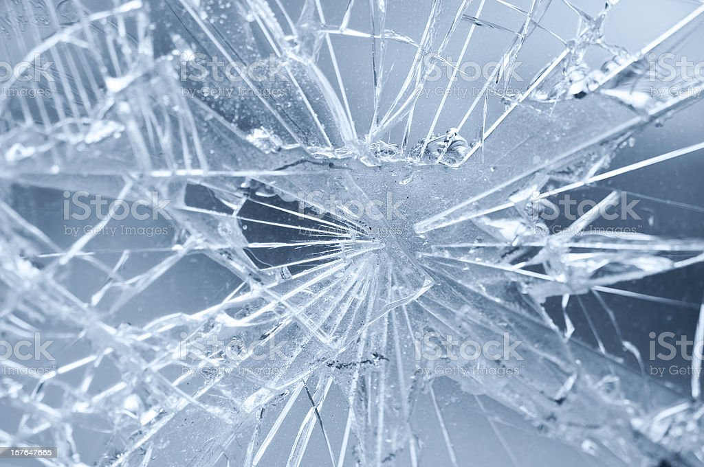 Accident - close-up of broken window stock photo
