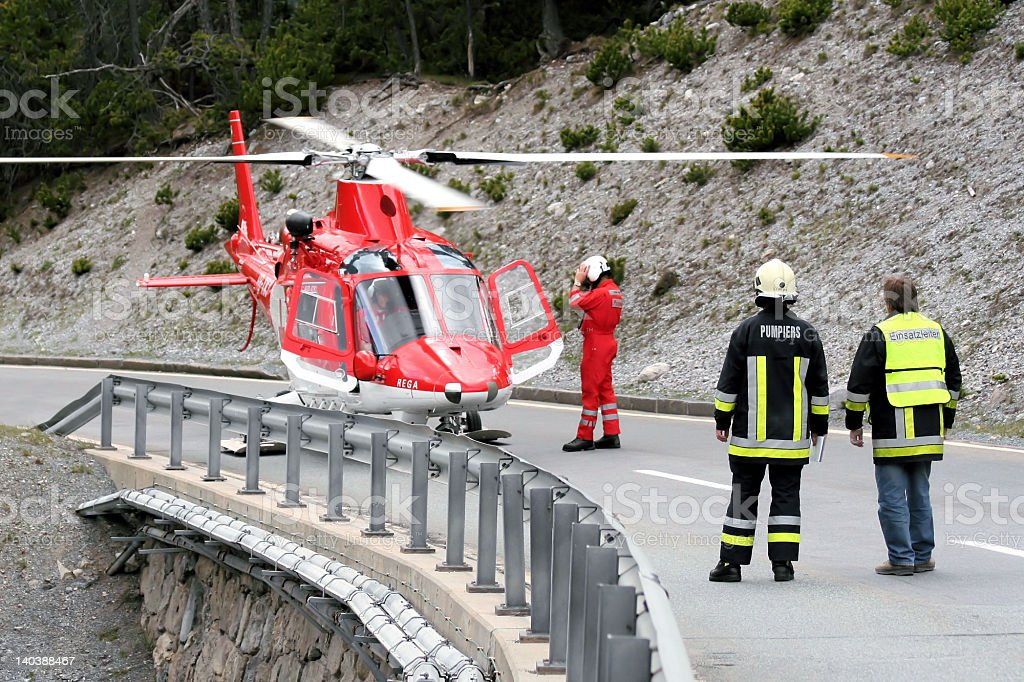 'Accident', Emergency personnel, Helicopter stock photo