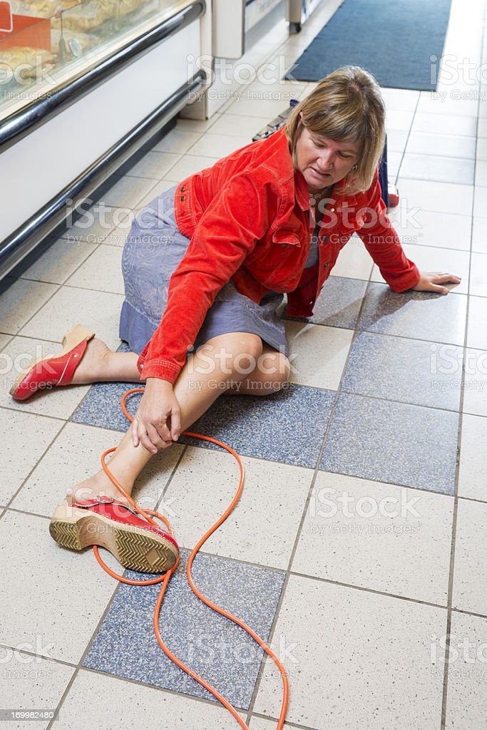 Accident in a store stock photo