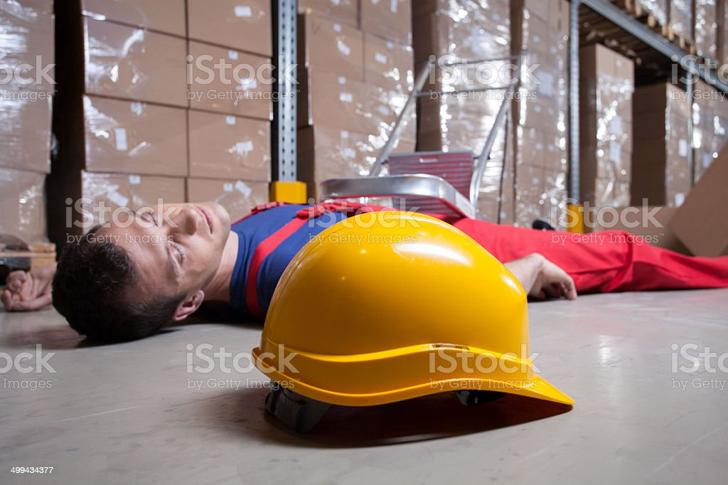 Accident in a warehouse stock photo
