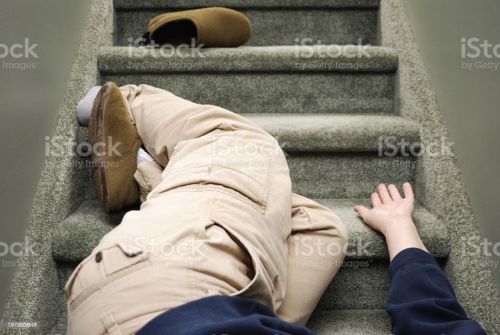 Accident in the Home, Falling Down Stairs royalty-free stock photo