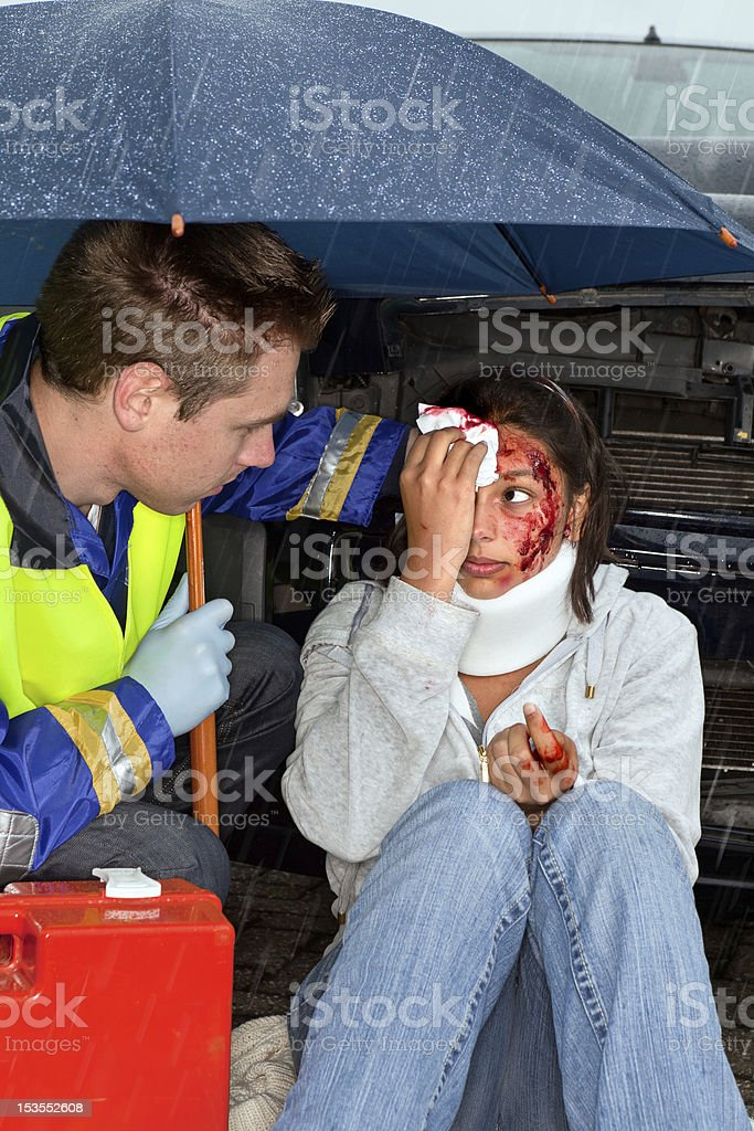 Accident in the rain royalty-free stock photo