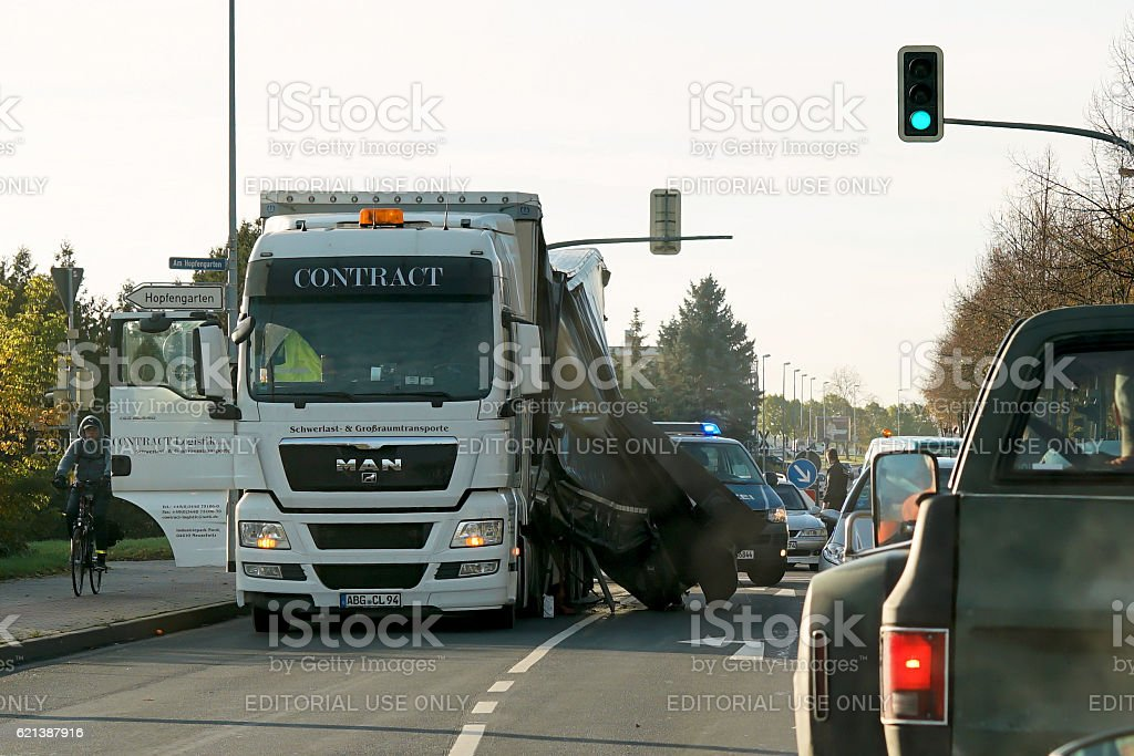 Accident of a heavy load transporter stock photo