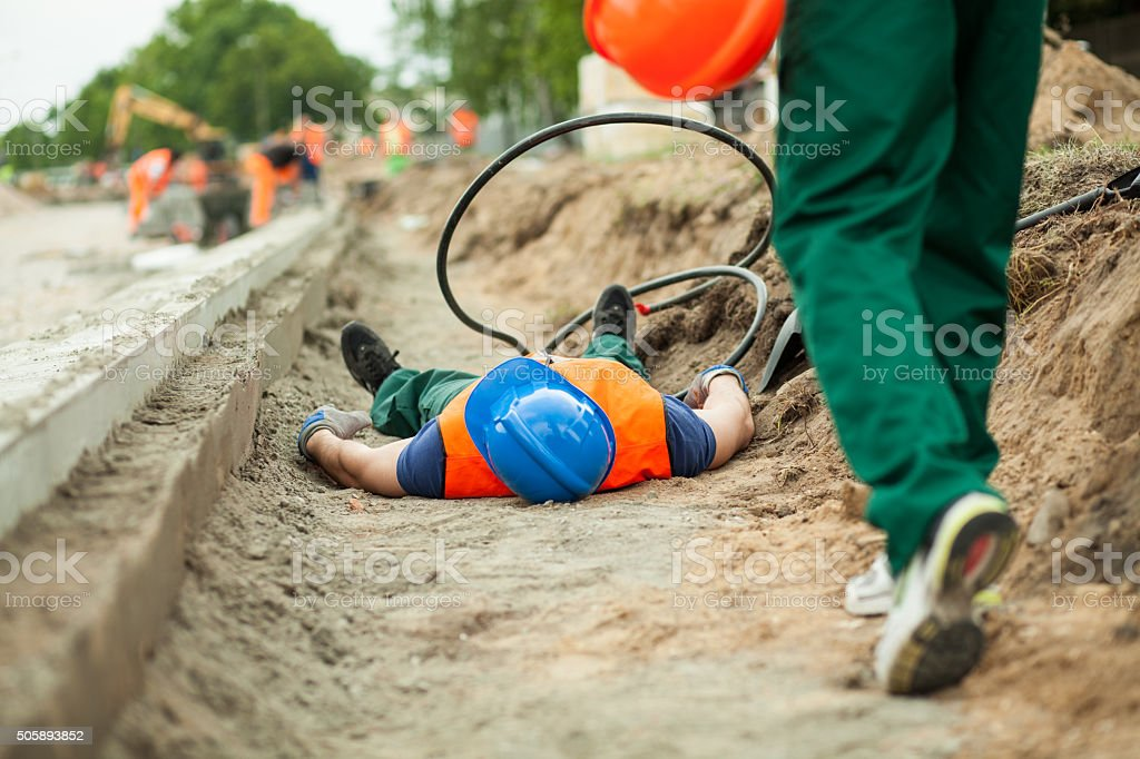 Accident on a road construction stock photo