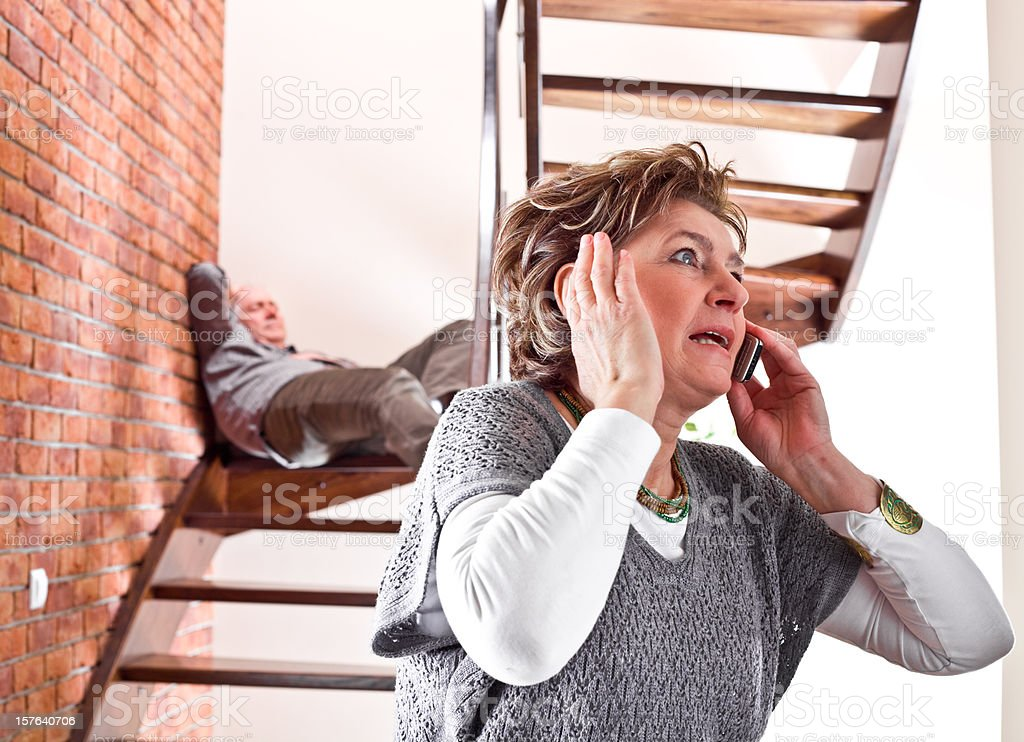 Accident on stairs at home royalty-free stock photo