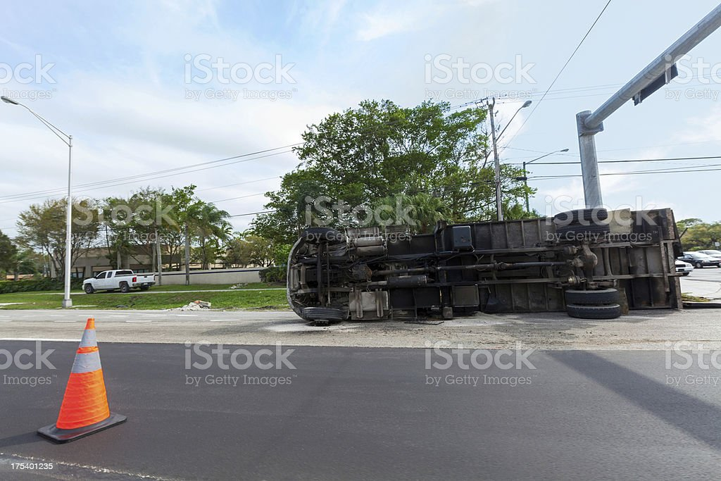 Accident: Over turned truck stock photo