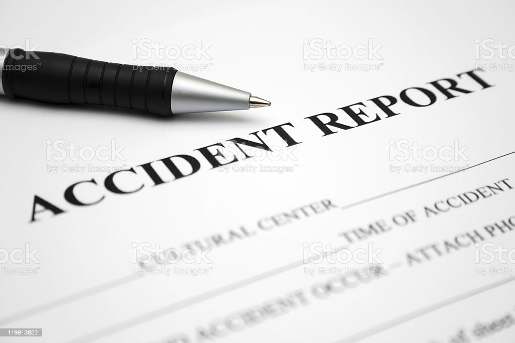 Accident report form with pen on top royalty-free stock photo