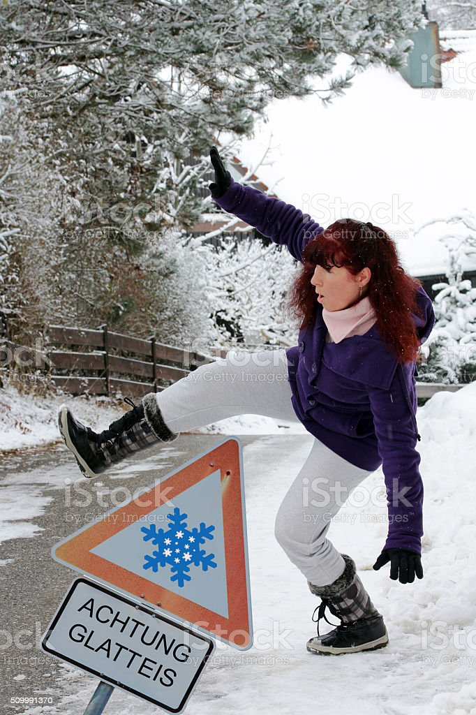 Accident risk in winter stock photo