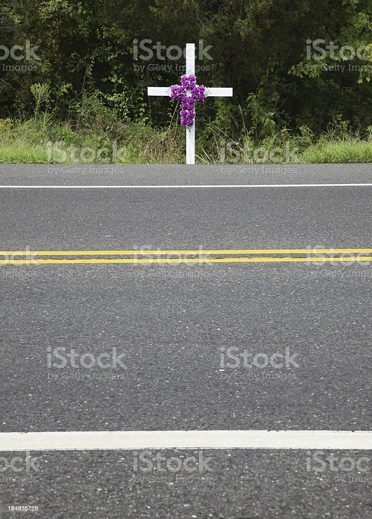 Accident Scene Memorial royalty-free stock photo