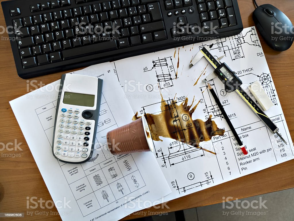 Accident, Spilled Coffee on project royalty-free stock photo
