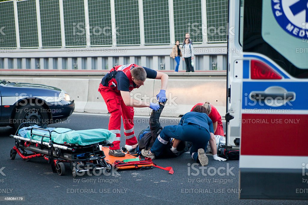 Accident Victim and Emergency Service royalty-free stock photo