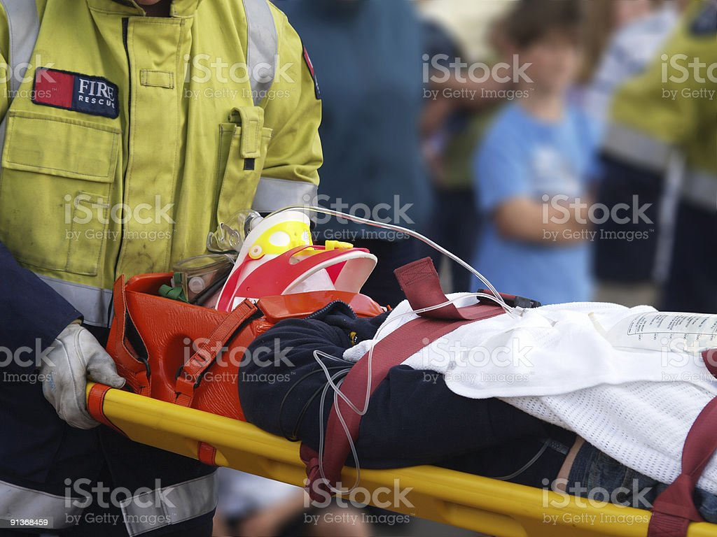 Accident Victim on Stretcher stock photo