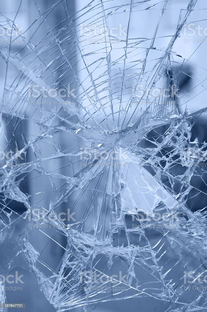Accident - web of rifts of broken window royalty-free stock photo