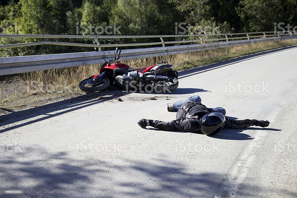 Accident with motorcycle stock photo