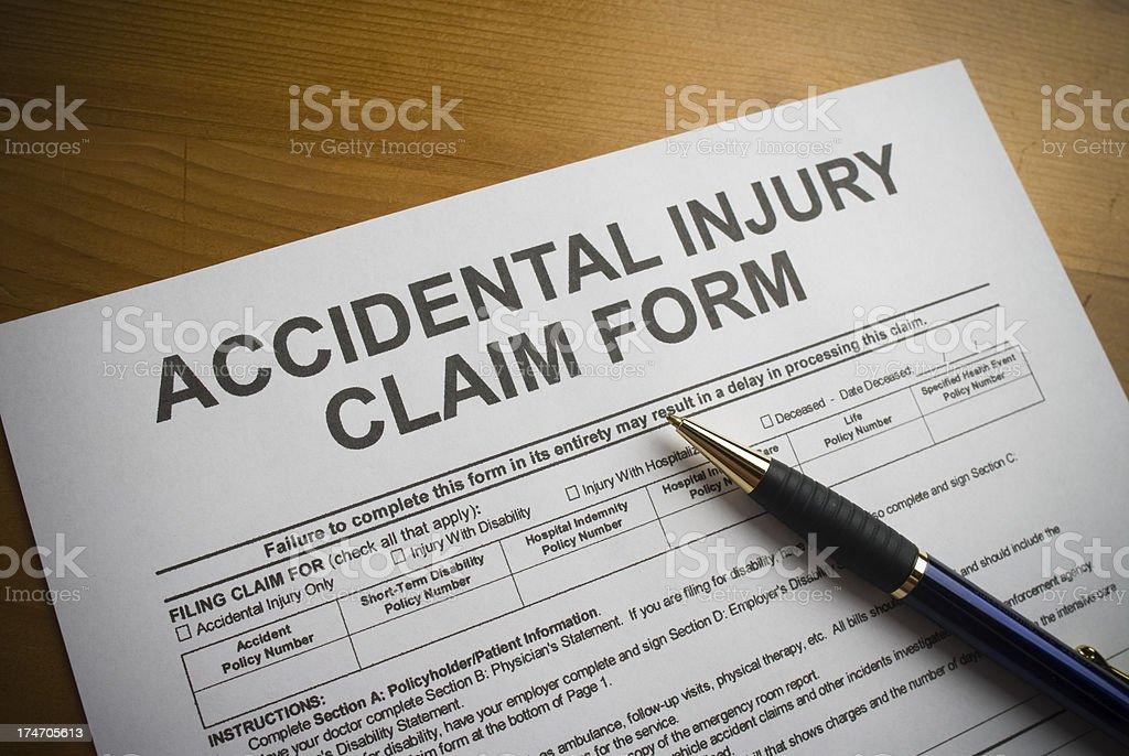 Accidental Injury Claim Form royalty-free stock photo