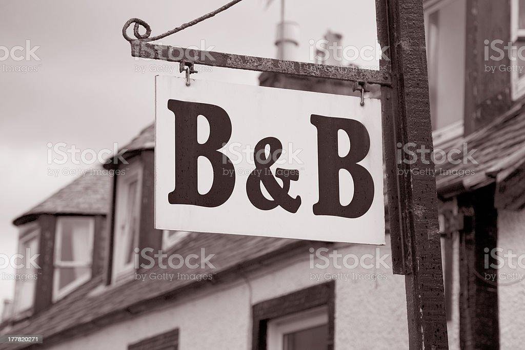 B&B Accommodation Sign stock photo