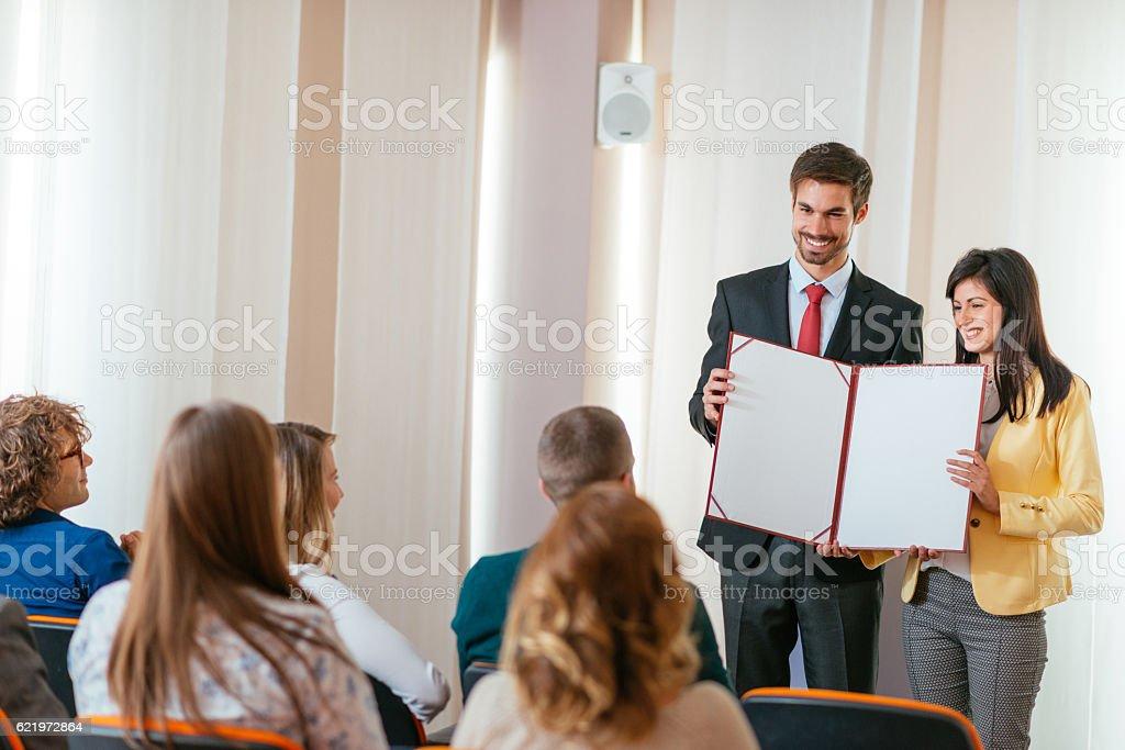Accomplishments rewarded on great ceremony stock photo